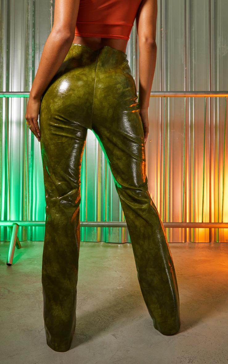 Green Vinyl Panelled Straight Leg Trousers 3