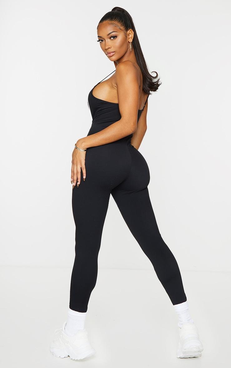 Shape Black Binding Detail Scoop Neck Sports Jumpsuit 2