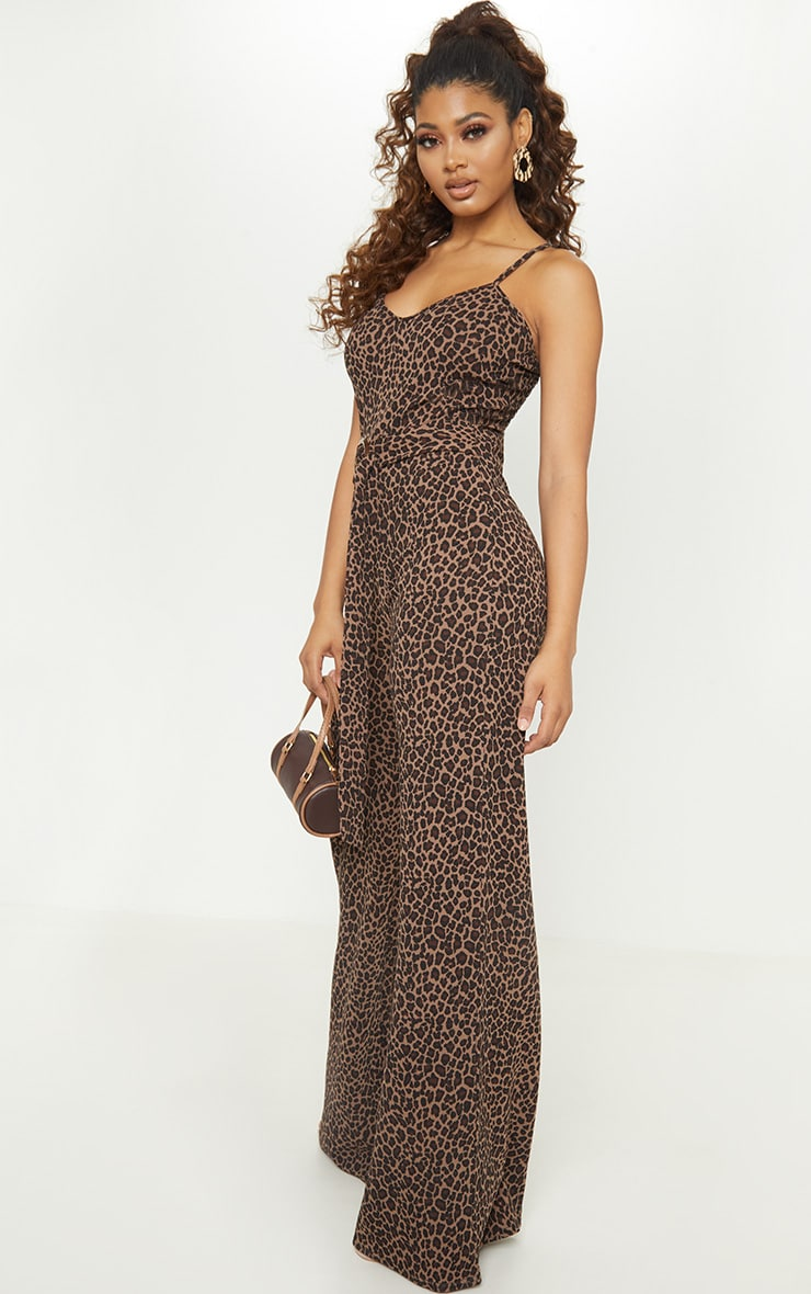 Tall Tan Leopard Print Tortoise Ring Jumpsuit 4
