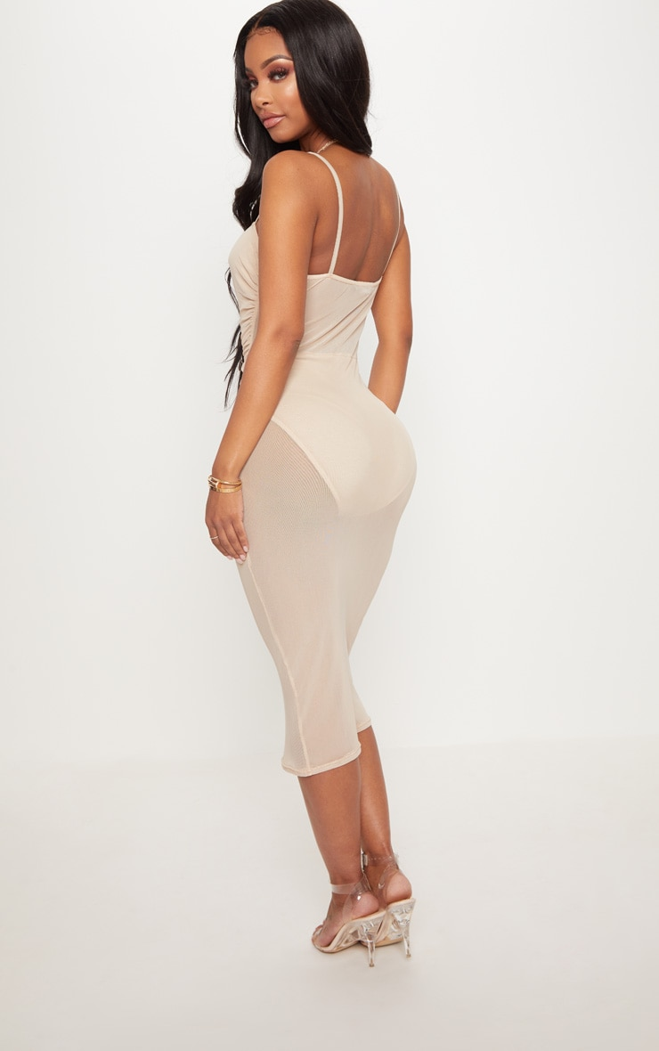 Shape Nude Mesh Ruched Strappy Midi Dress 2