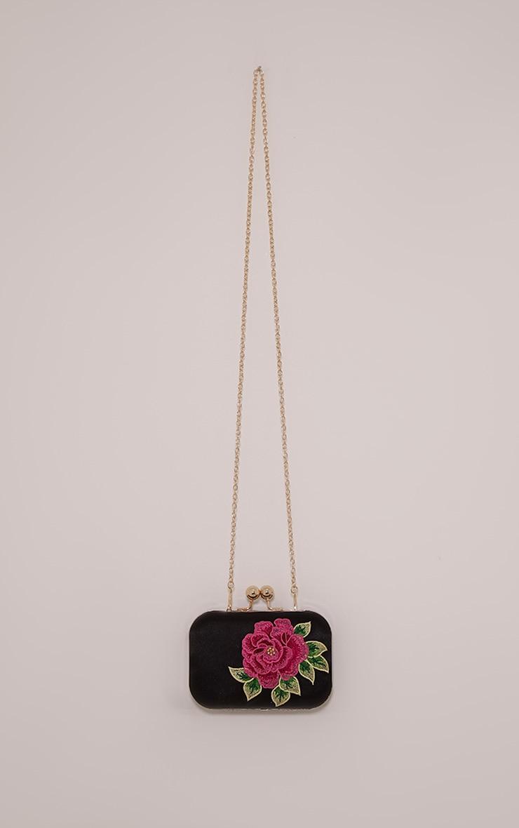 Angela Black Rose Embroidered Clutch Bag 3