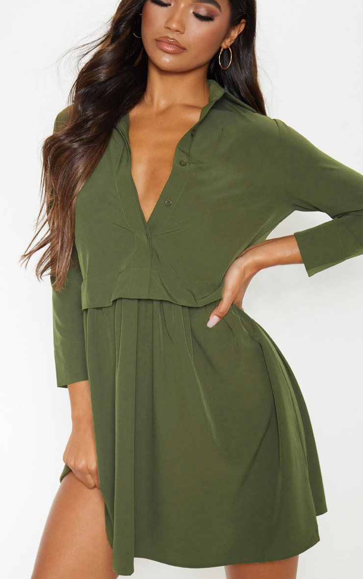 Olive Layer Shirt Dress 5