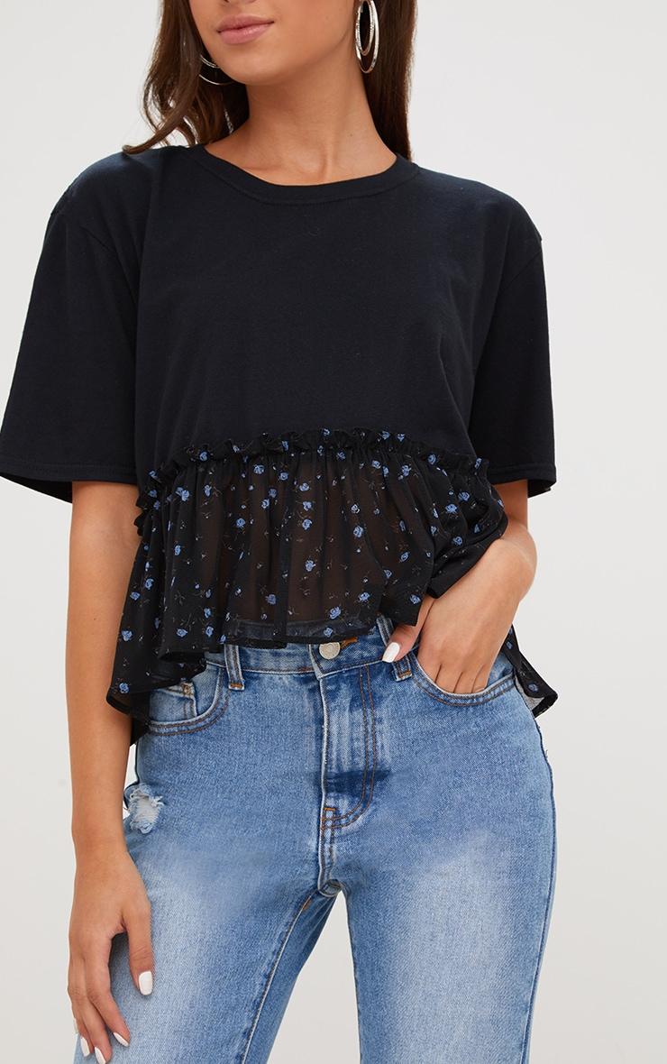 Black Floral Print Frill Hem T Shirt 4