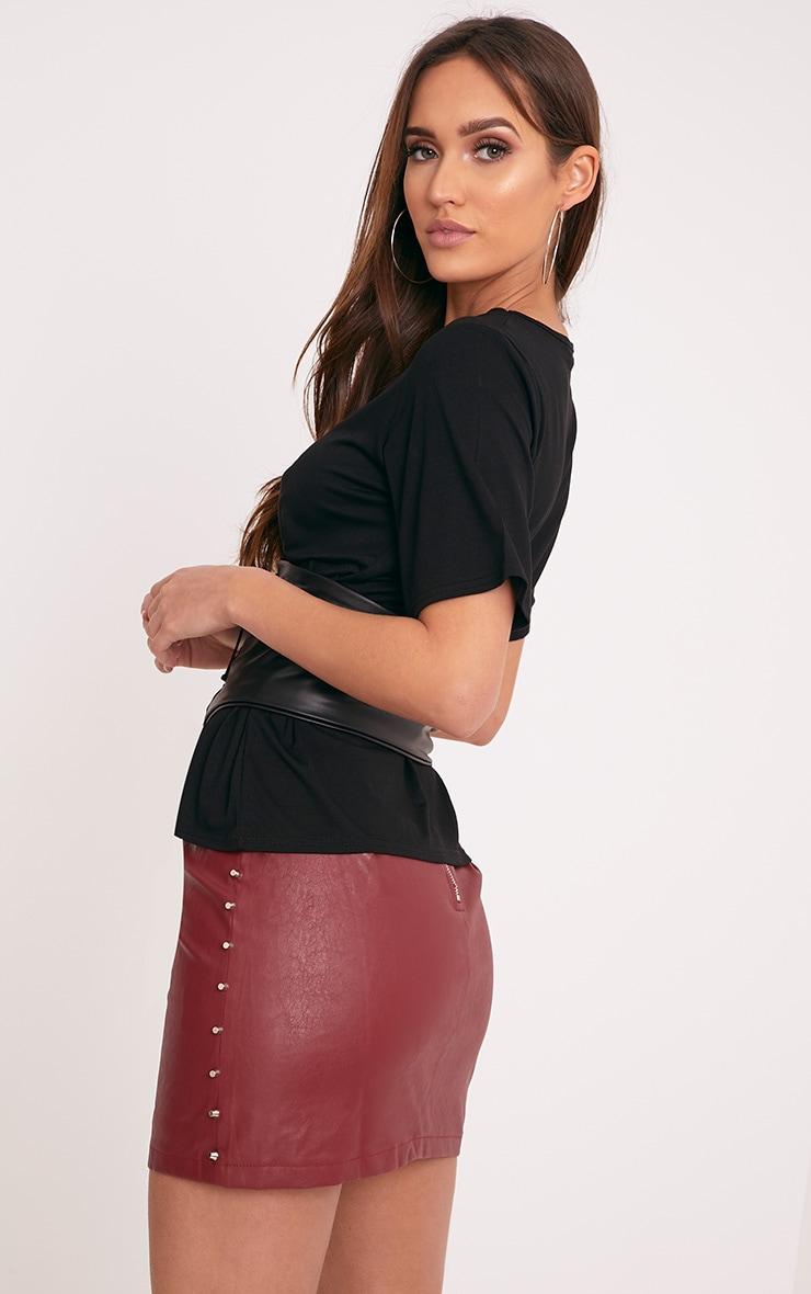 Leanora Black PU Corset Detail T Shirt 2