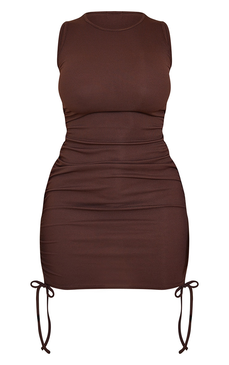 Shape Chocolate Brown Rib Ruched Side Sleeveless Bodycon Dress 5