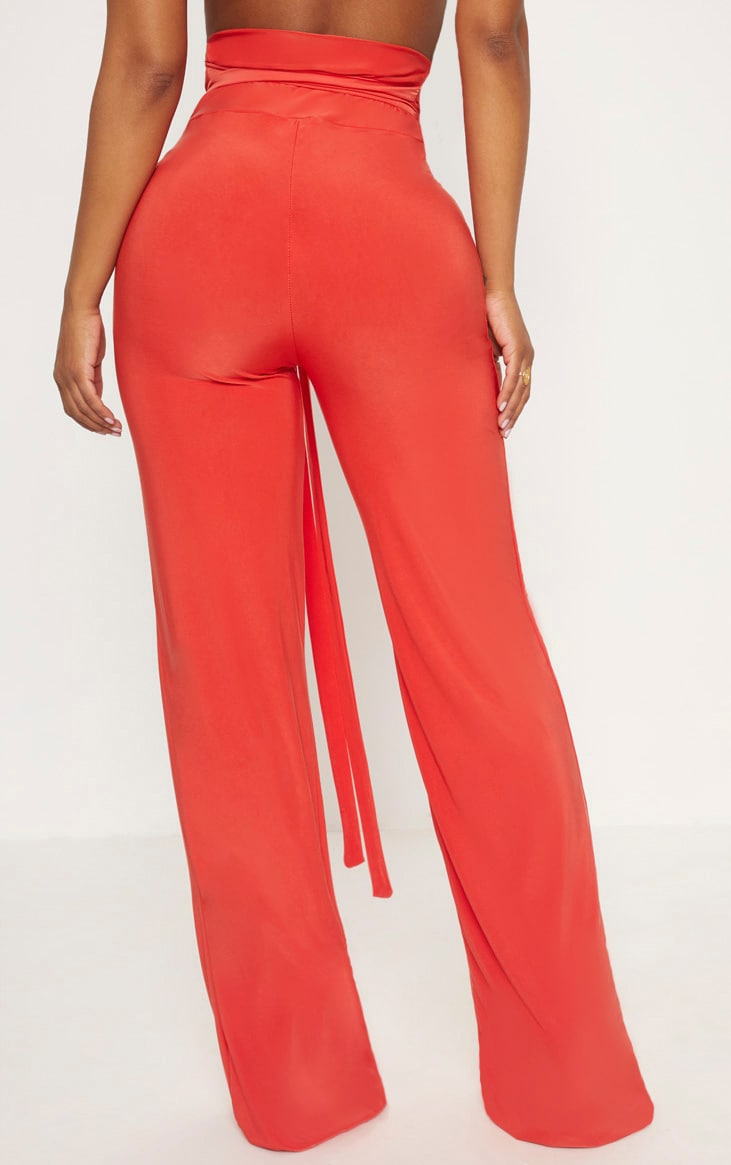Shape Orange Slinky Extreme High Waist Detail Wide Leg Trousers 4