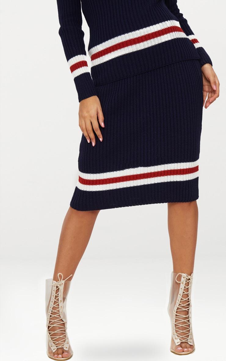Navy Sports Stripe Rib Skirt 2