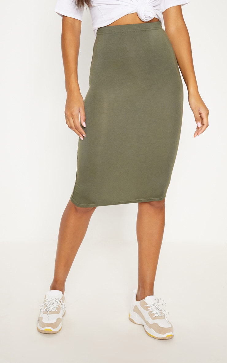 Basic Black & Khaki Jersey Midi Skirt 2 Pack 6