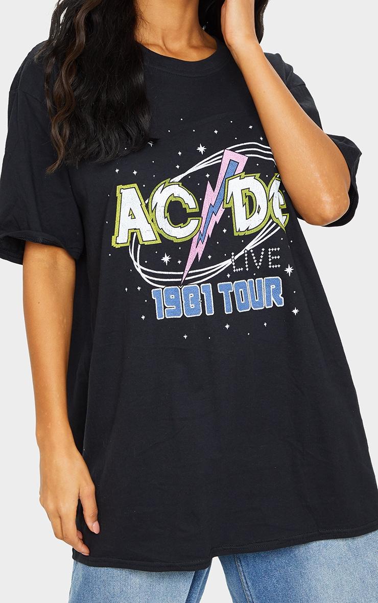 Black ACDC Printed T Shirt 4