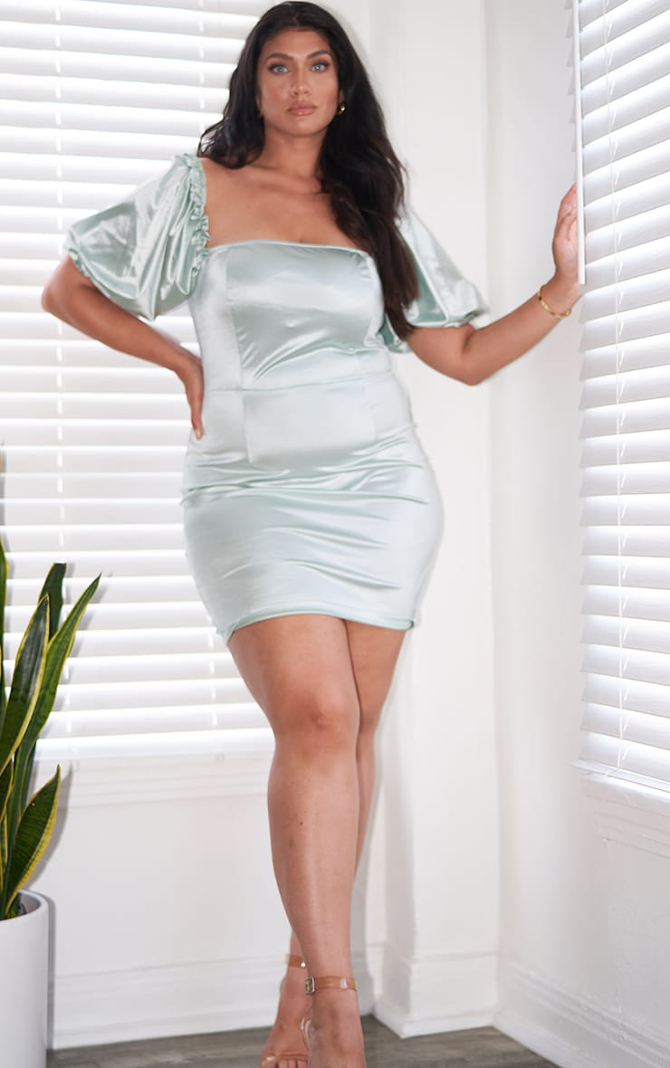 Plus Mint Satin Puff Sleeve Square Neck Bodycon Dress 3