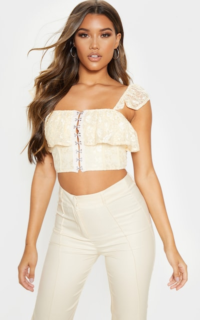 add46fe69f8 Cream Lace Hook and Eye Frill Strap Crop Top