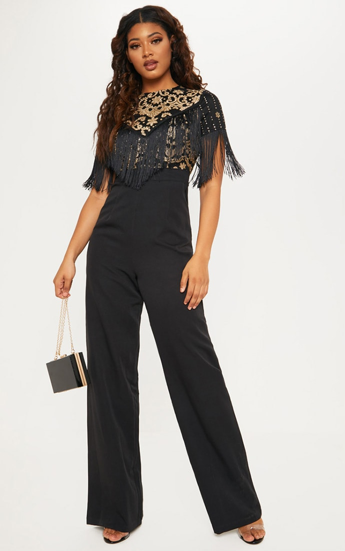 Tall Black Sequin Embroidered Tassel Front Jumpsuit 1