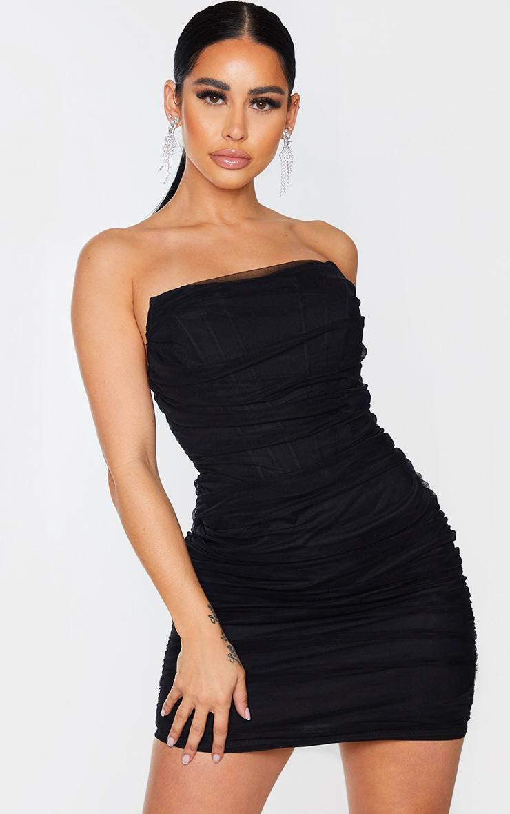 Shape Black Mesh Corset Detail Ruched Bodycon Dress 1