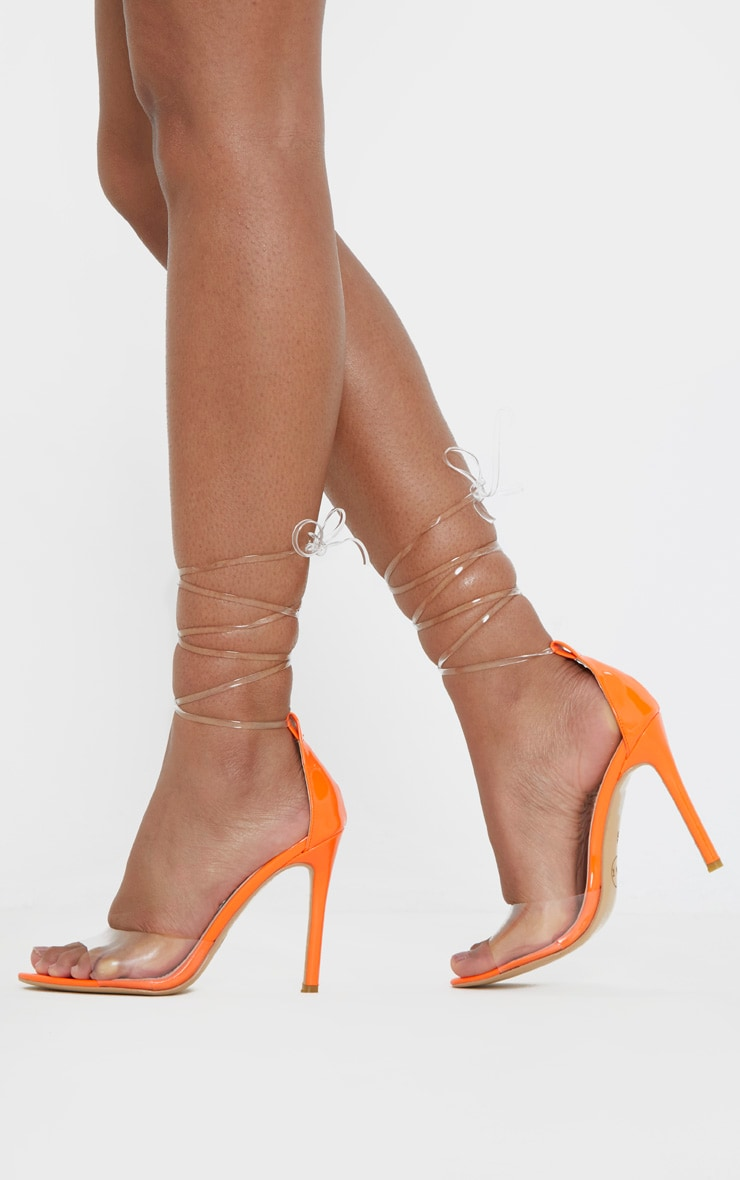 Neon Orange Clear Leg Tie Heeled Sandal 1