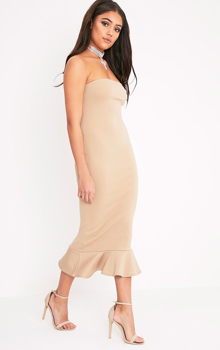 Isabella Taupe Bandeau Frill Hem Midaxi Dress 5