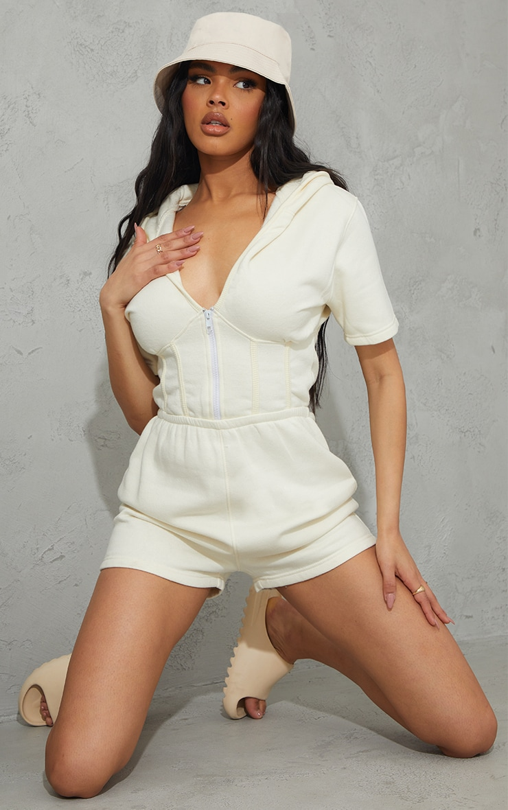 Cream Corset Detail Sweat Hooded Playsuit 3