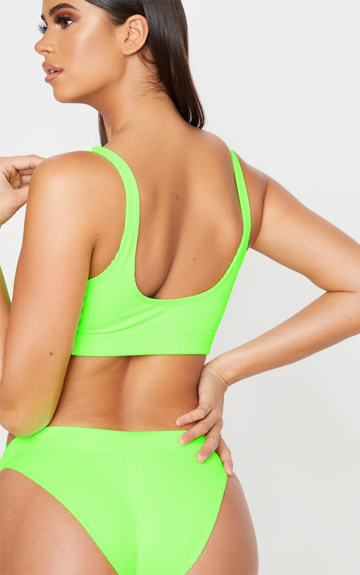 Lime Mix & Match Fuller Bust Ribbed Elasticated Scoop Bikini Top 2