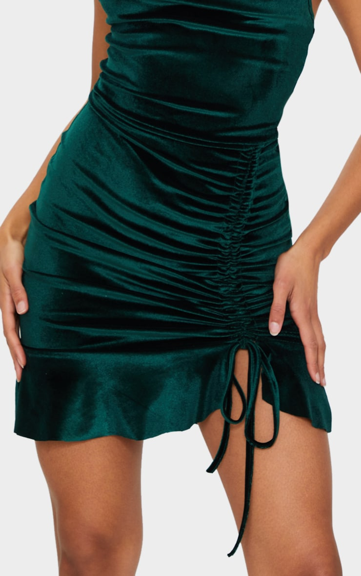 Emerald Green Velvet Strappy Ruched Frill Hem Bodycon Dress 4