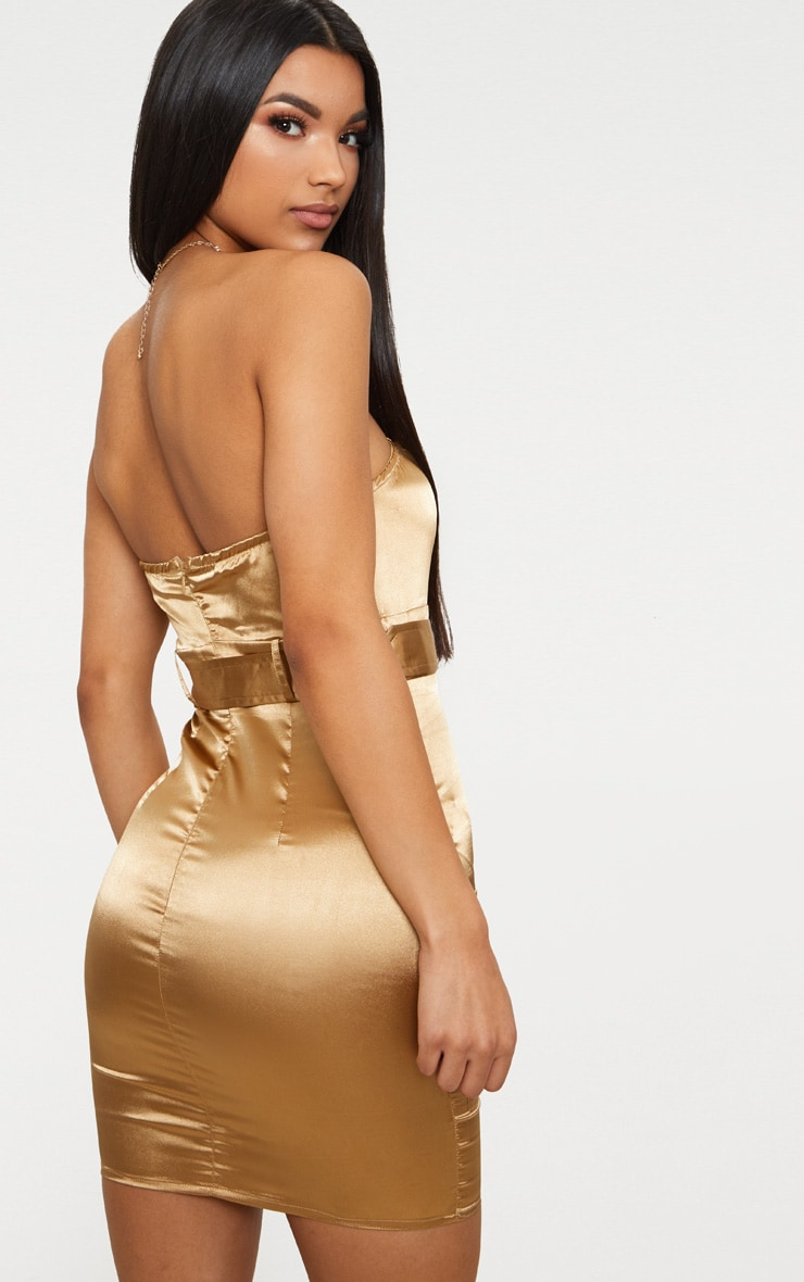 Camel Satin Utility Bandeau Bodycon Dress 2