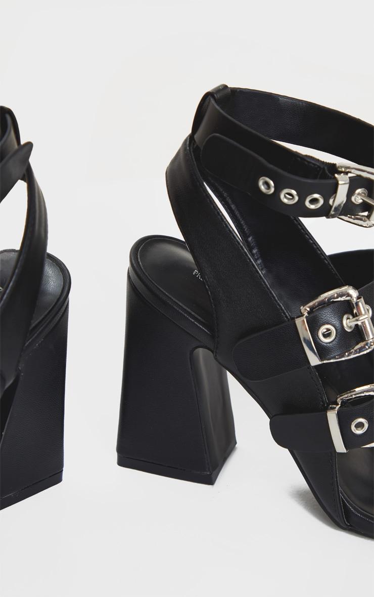 Black Block Heel Multi Buckle Sandals 5