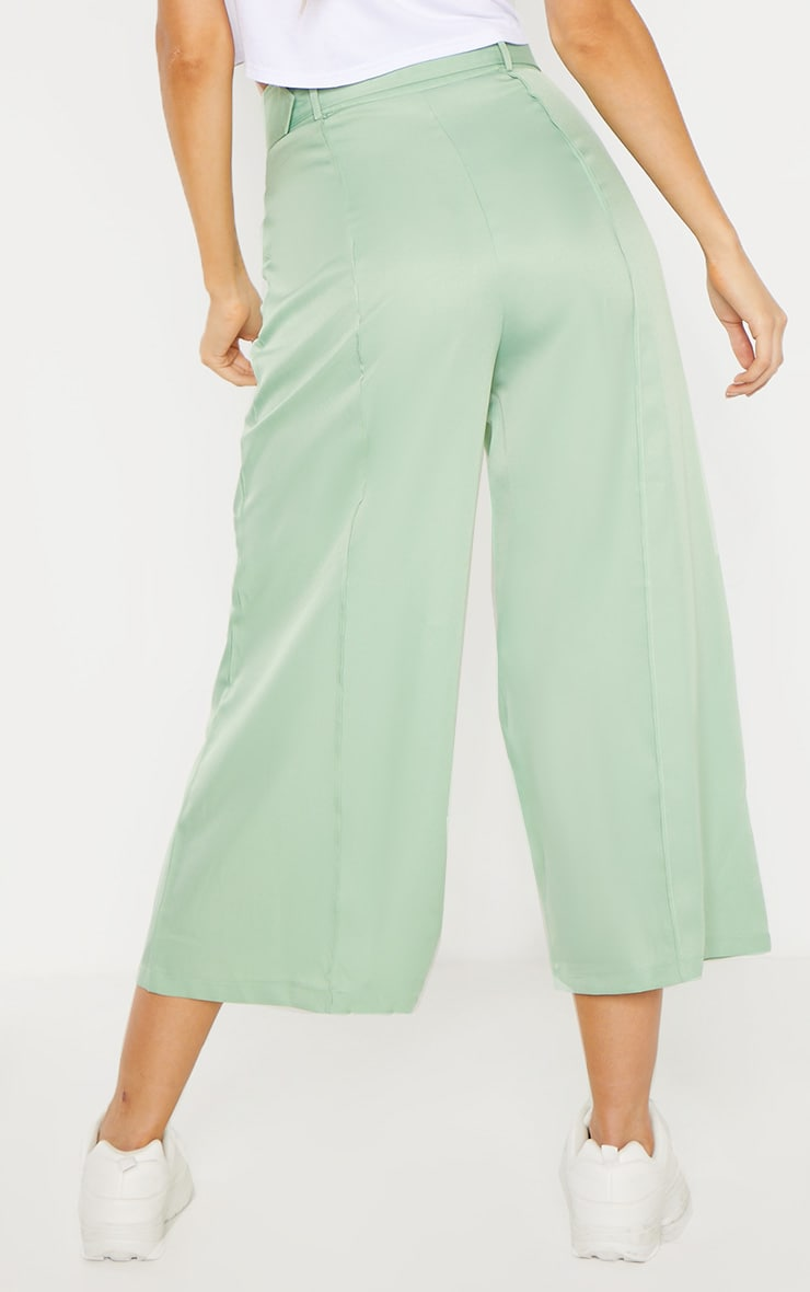 Tall Mint Circle Belt Wide Leg Culottes 4