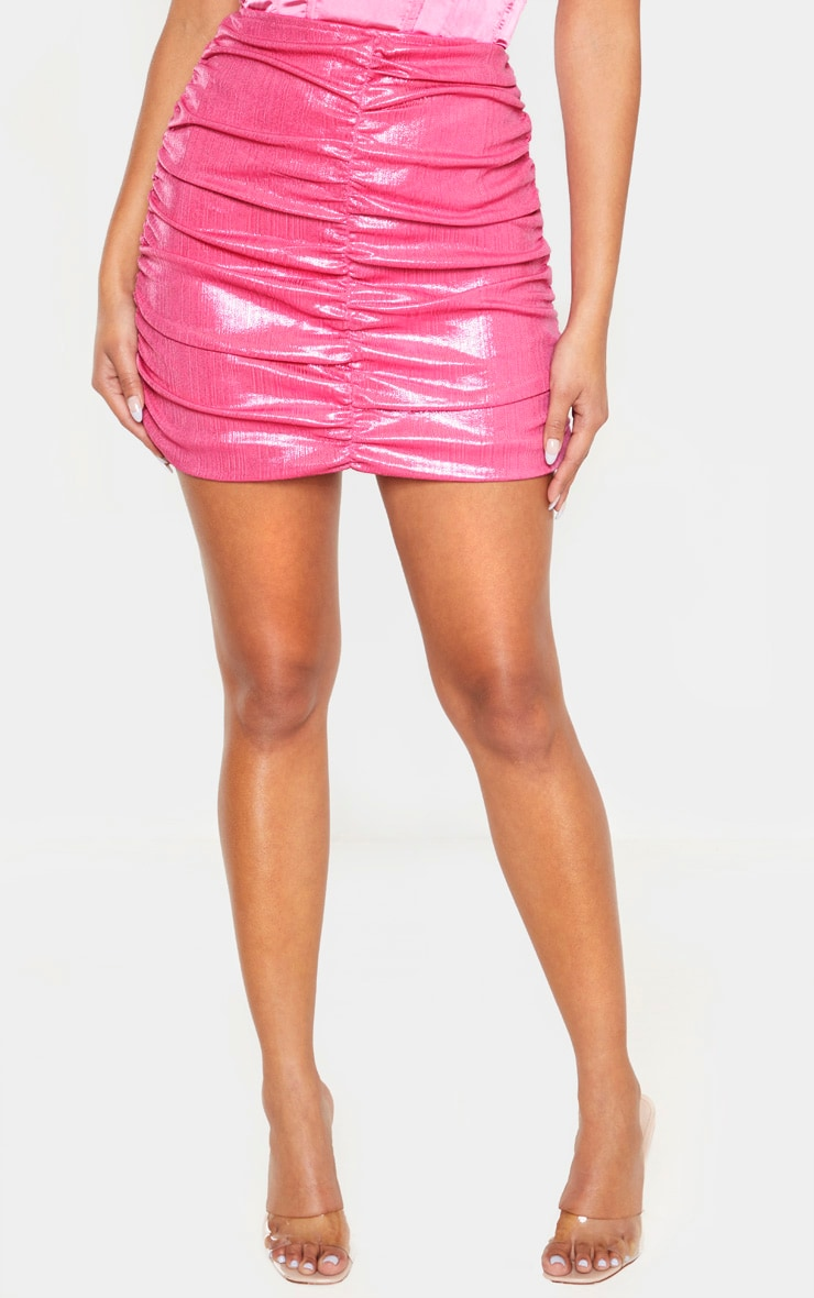 Pink Metallic Thread Ruched Mini Skirt 2