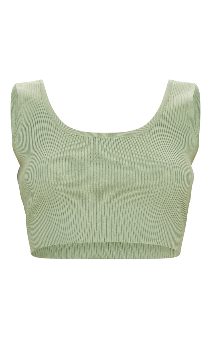 Sage Green Ribbed Scoop Back Knitted Top 5