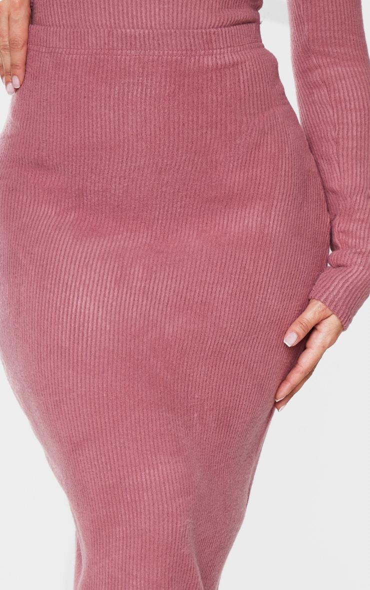 Shape Mauve Brushed Rib Midaxi Skirt 4