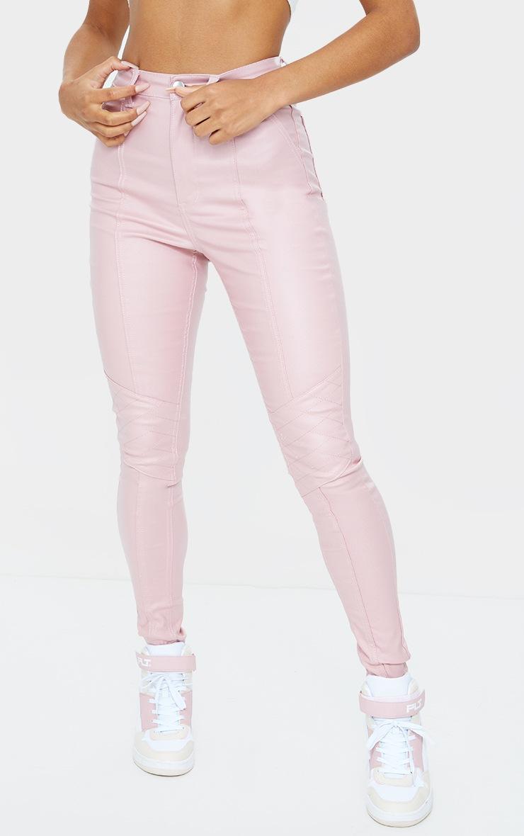 Rose Biker Coated Jeans 2