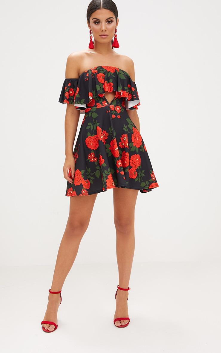 Black Floral Bardot Cut Out Swing Dress 3