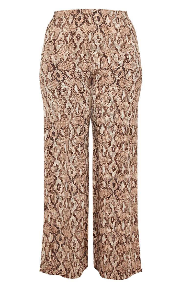 Plus Taupe Snake Print Wide Leg Pants  3