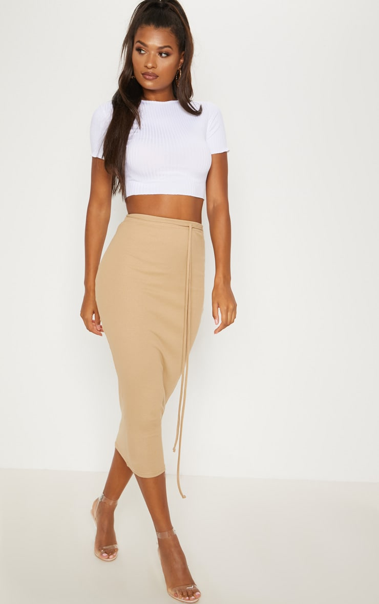 Camel Tie Detail Ribbed Midi Skirt 1