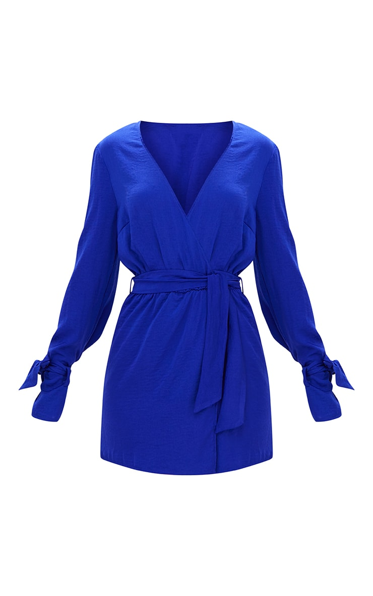 Cobalt Satin Wrap Cuff Detail Shift Dress 3