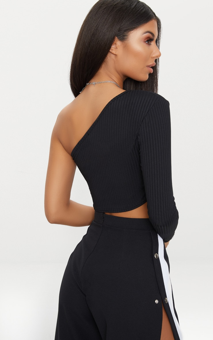 Black One Shoulder Rib Crop Top 2