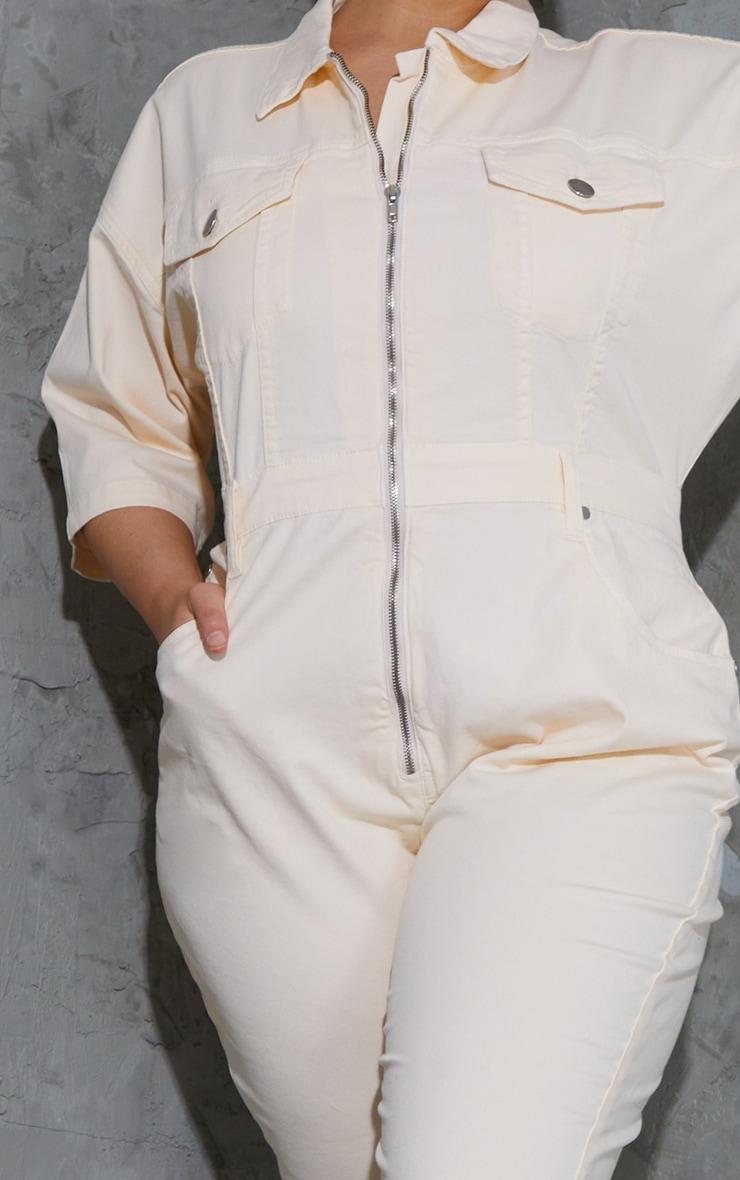 Plus Ecru Short Sleeve Zip Up Denim Jumpsuit 4