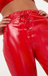 Red Vinyl Skinny Lace Up Pants 5