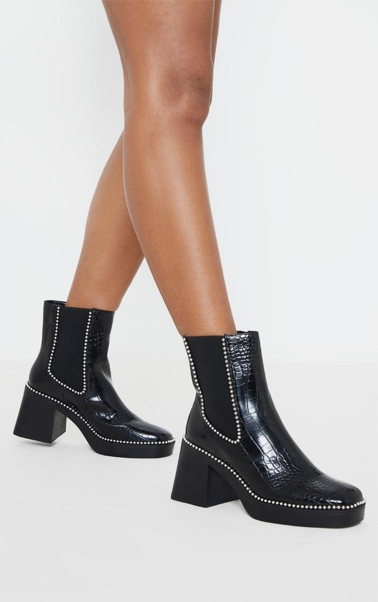 Black Square Toe Chunky Block Heel Chelsea Boot 2