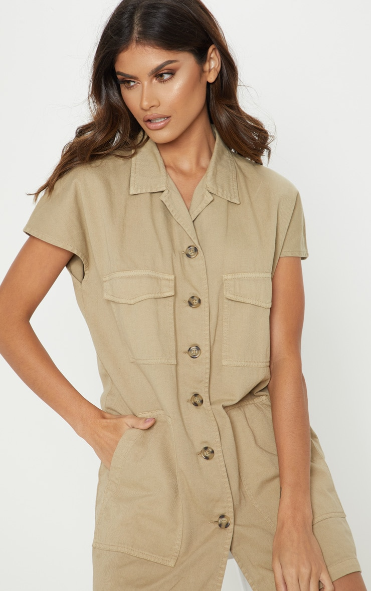 Stone Denim Cargo Short Sleeve Shirt Dress 5