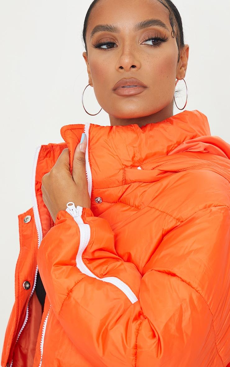 Orange Nylon Oversized Zip Sleeve Puffer Jacket 4
