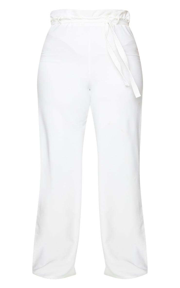 Plus White Tie Waist Wide Leg Trousers 5