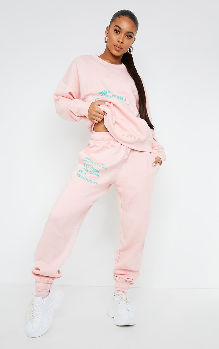 PRETTYLITTLETHING Light Pink Graphic Print Joggers 1