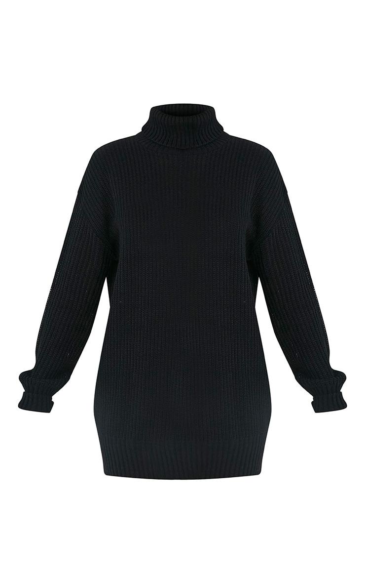Zora pull noir tricoté surdimensionné à col roulé 3
