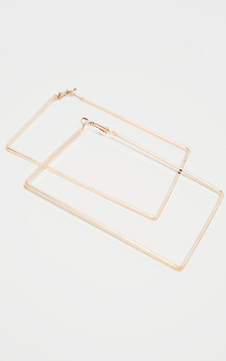Créoles carrées fines dorées XXL 2