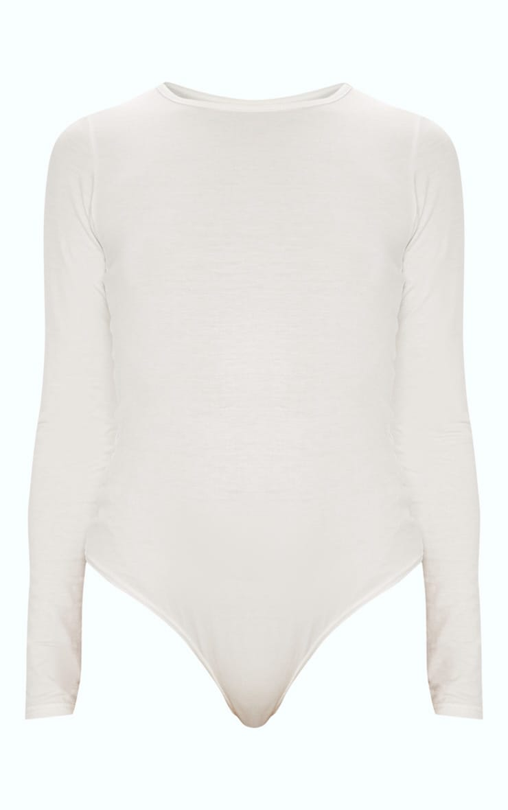Cream Crew Neck Long Sleeve Bodysuit 3