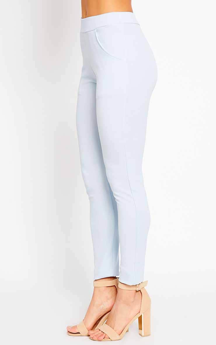 Sage Powder Blue Crepe Cigarette Trousers 3