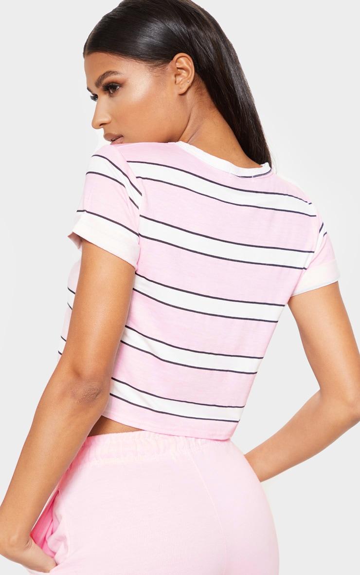 Basic Pink Stripe Roll Sleeve Crop T Shirt 2