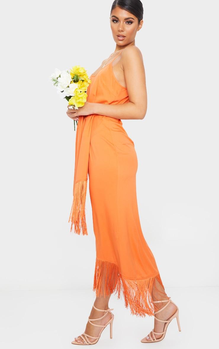 Bright Orange Tassel Detail Strappy Tie Waist Midi Dress 3