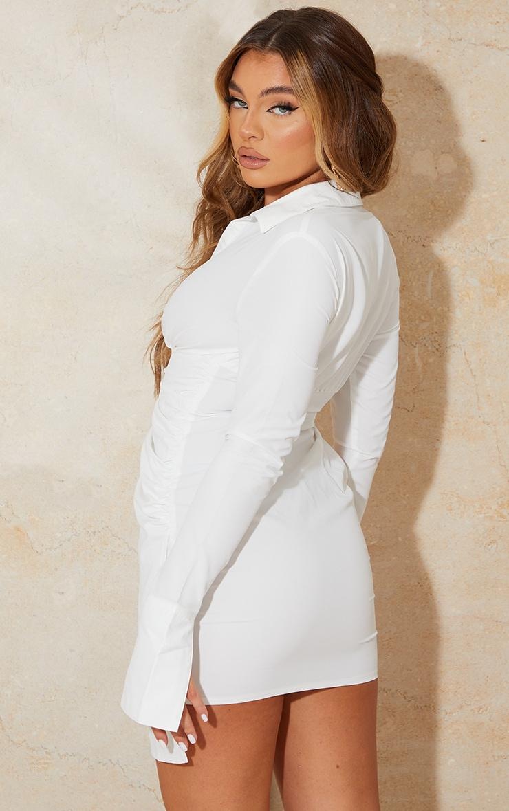 White Oversized Cuff Gathered Skirt Shirt Dress 2