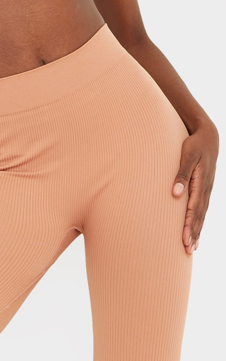 Tall Taupe Structured Contour Ribbed Leggings 4