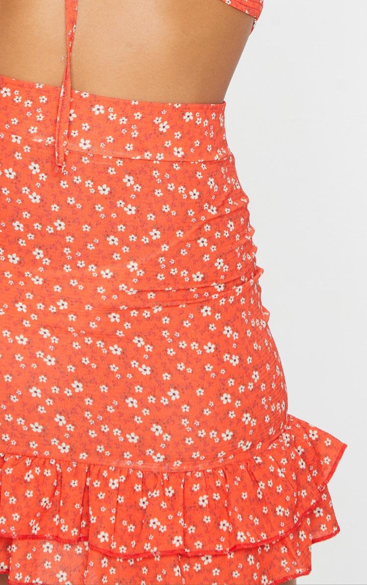Red Floral Printed High Waist Mini Skirt 6